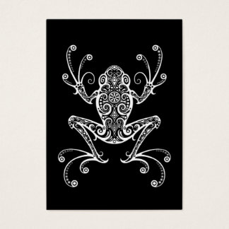 Intricate White Tree Frog on Black Business Card