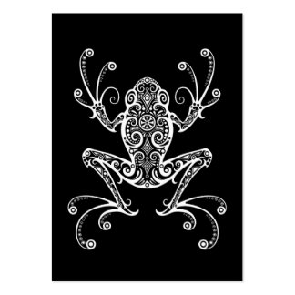 Intricate White Tree Frog on Black Large Business Card