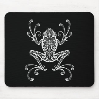 Intricate White Tree Frog on Black Mouse Pad