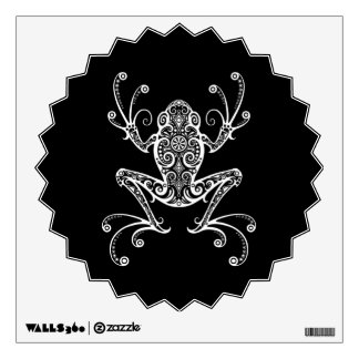 Intricate White Tree Frog on Black Wall Decal