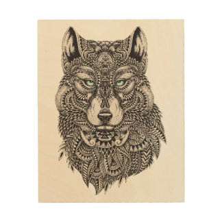 Intricate Wolf Illustration Wood Wall Art