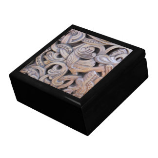 Intricate Wood Carving Swirl Knot Design Gift Box