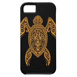 Intricate Yellow and Black Sea Turtle iPhone 5 Covers