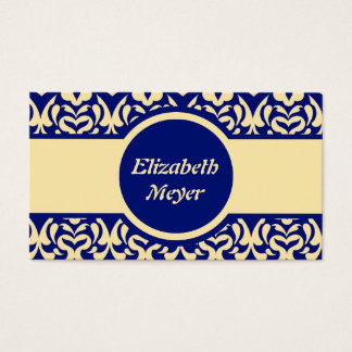 Intricate Yellow and Blue Heart Pattern Business Card