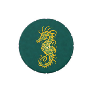 Intricate Yellow and Blue Seahorse Design Candy Tin