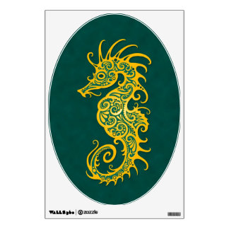 Intricate Yellow and Blue Seahorse Design Wall Decal