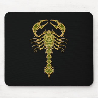 Intricate Yellow and Green Tribal Scorpion Mouse Pads