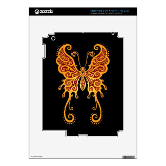 Intricate Yellow and Red Butterfly Skins For iPad 3
