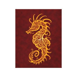 Intricate Yellow and Red Seahorse Design Stretched Canvas Prints