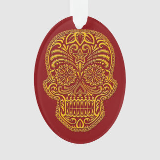 Intricate Yellow and Red Sugar Skull Ornament