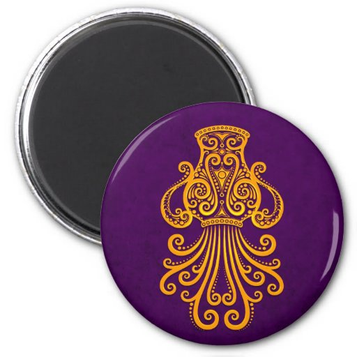 Intricate Yellow Aquarius Zodiac on Purple 2 Inch Round Magnet