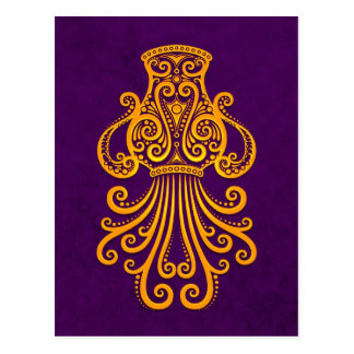 Intricate Yellow Aquarius Zodiac on Purple Postcard
