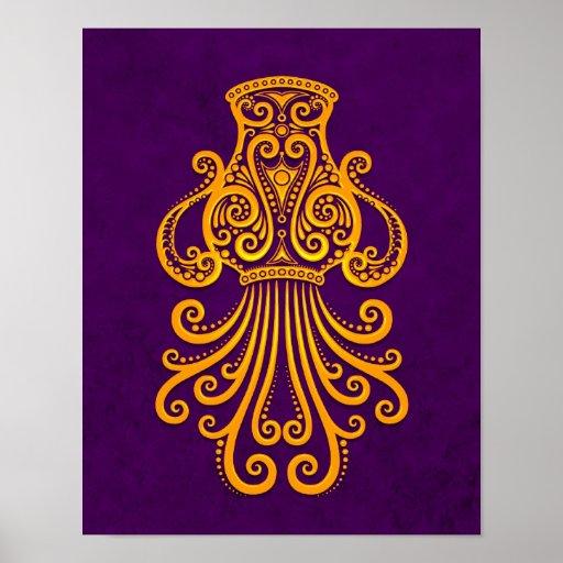 Intricate Yellow Aquarius Zodiac on Purple Poster