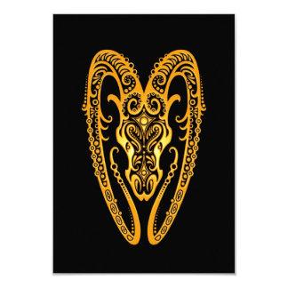 Intricate Yellow Aries Zodiac on Black 3.5x5 Paper Invitation Card