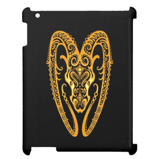 Intricate Yellow Aries Zodiac on Black Case For The iPad