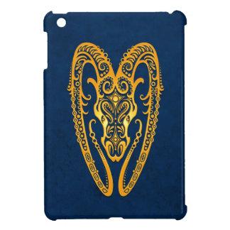 Intricate Yellow Aries Zodiac on Blue iPad Mini Cases