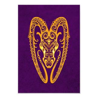 Intricate Yellow Aries Zodiac on Purple 3.5x5 Paper Invitation Card