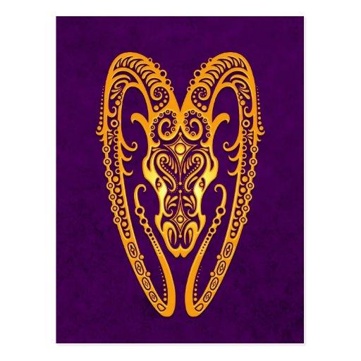 Intricate Yellow Aries Zodiac on Purple Post Cards