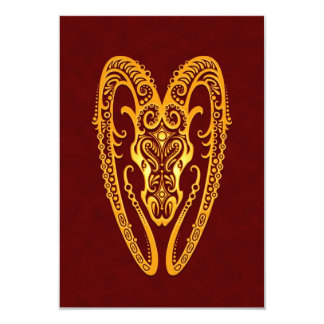 Intricate Yellow Aries Zodiac on Red 3.5x5 Paper Invitation Card