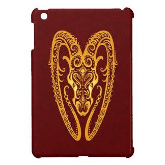 Intricate Yellow Aries Zodiac on Red iPad Mini Cases