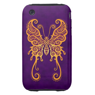 Intricate Yellow Butterfly on Purple Tough iPhone 3 Case
