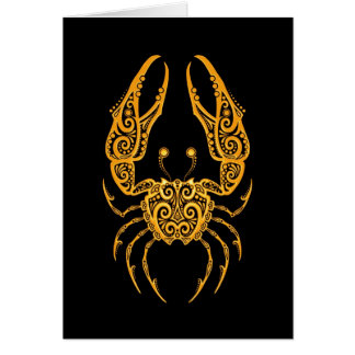 Intricate Yellow Cancer Zodiac on Black Greeting Card