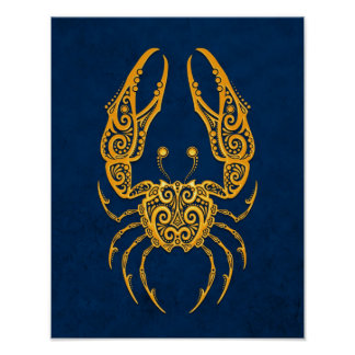 Intricate Yellow Cancer Zodiac on Blue Poster