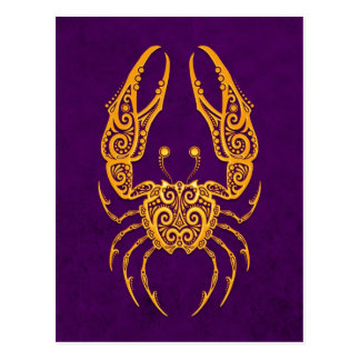 Intricate Yellow Cancer Zodiac on Purple Postcard