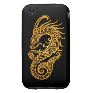 Intricate Yellow Capricorn Zodiac on Black Tough iPhone 3 Covers