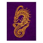 Intricate Yellow Capricorn Zodiac on Purple Postcard