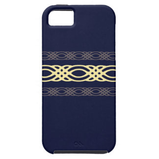 Intricate Yellow Decor on Royal Blue iPhone SE/5/5s Case