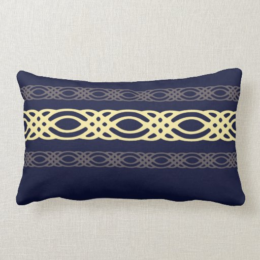 Intricate yellow decor on royal blue throw pillow zazzle for Royal blue couch pillows