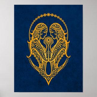 Intricate Yellow Gemini Zodiac on Blue Print