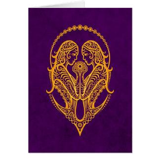 Intricate Yellow Gemini Zodiac on Purple Card