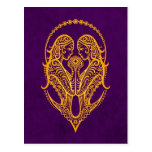 Intricate Yellow Gemini Zodiac on Purple Postcard