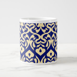 Intricate Yellow Heart Pattern Against Blue Extra Large Mugs