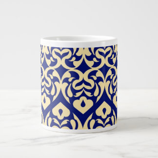 Intricate Yellow Heart Pattern Against Blue Jumbo Mug
