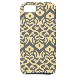 Intricate Yellow Heart Pattern Against Gray iPhone SE/5/5s Case