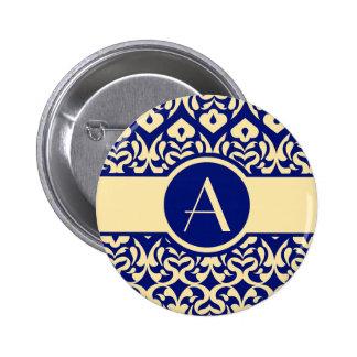 Intricate Yellow Heart Pattern - Custom Monogram Pinback Button