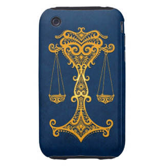 Intricate Yellow Libra Zodiac on Blue Tough iPhone 3 Cases