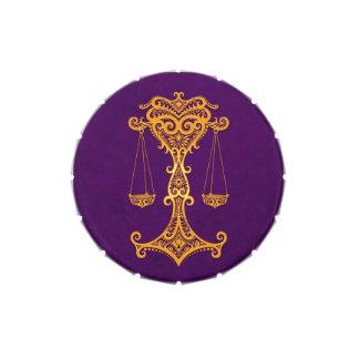 Intricate Yellow Libra Zodiac on Purple Jelly Belly Candy Tin