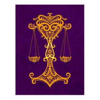 Intricate Yellow Libra Zodiac on Purple Postcard