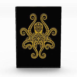 Intricate Yellow Octopus on Black Acrylic Award
