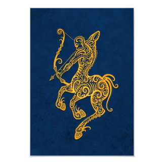 Intricate Yellow Sagittarius Zodiac on Blue Card