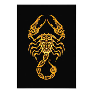 Intricate Yellow Scorpio Zodiac on Black Card