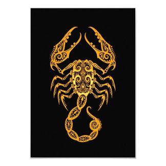 Intricate Yellow Scorpio Zodiac on Black 3.5x5 Paper Invitation Card