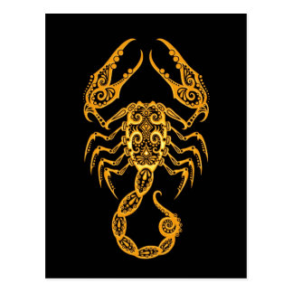 Intricate Yellow Scorpio Zodiac on Black Postcard