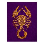 Intricate Yellow Scorpio Zodiac on Purple Post Card