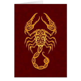 Intricate Yellow Scorpio Zodiac on Red Card