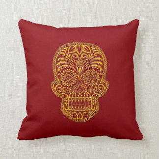 Intricate Yellow Sugar Skull on Red Pillows